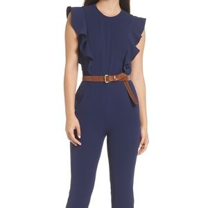 New Michael Kors Ruffled Belted Jumpsuit